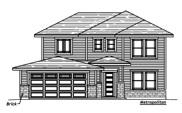 Elevation drawing for the Cypress floorplan.